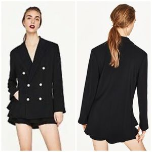 RARE! NWT Zara Double Breasted Blazer with Pearls